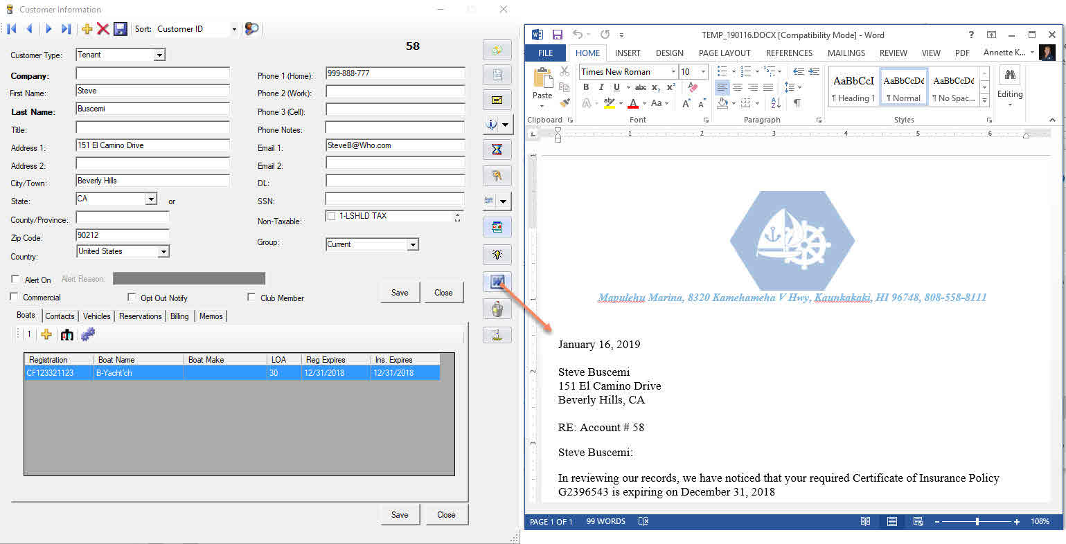 Total Marina Package: Marina Management Software Letters Window