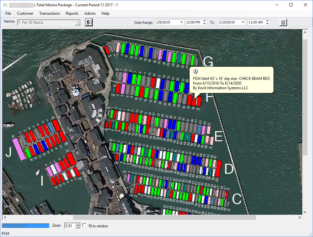 Total Marina Package: Marina Management Software Main Window